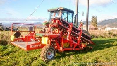 Traktor mit Lifter um Bäume auszugraben
