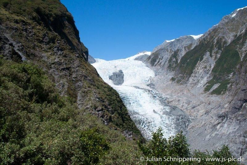 Der Blick auf den Franz Josef Gletscher
