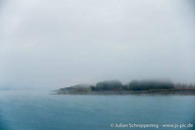 Nebel über Lake Pukaki