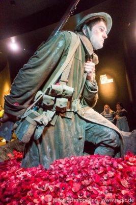 großer Soldat watet durch rote Rosenblätter