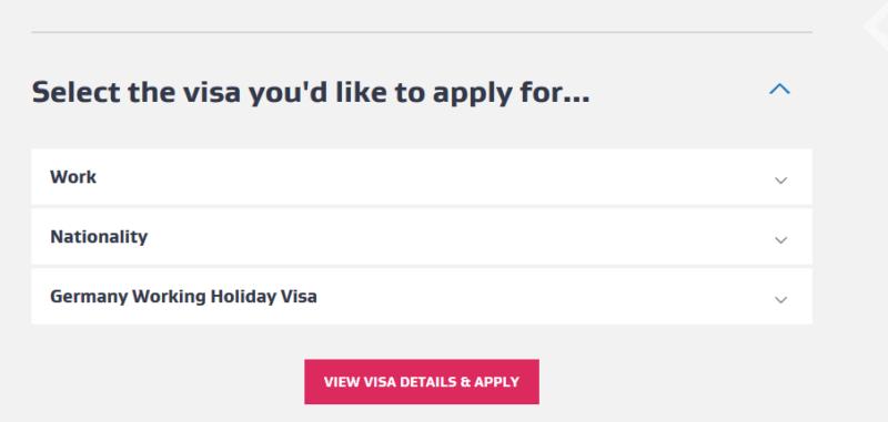 Auswahl für das Work and Holiday Visum