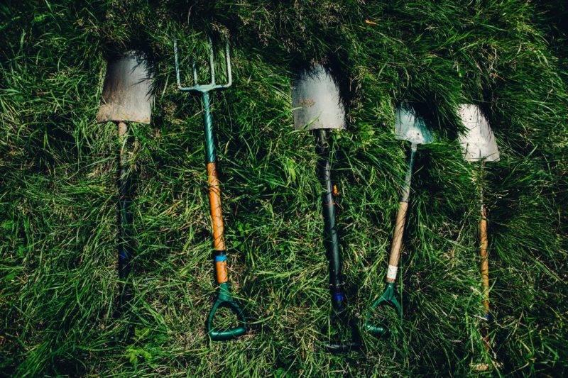 Arbeitsgeräte für die Farmarbeit liegen im Gras