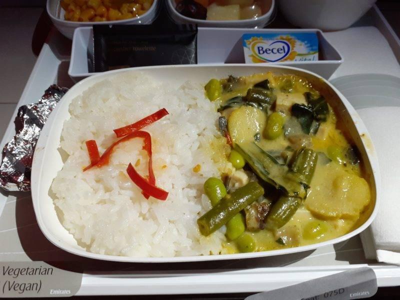 Vegetarisches Menü bei Emirates