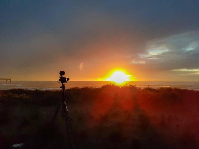Sonnenaufgang am New Brighton Beach