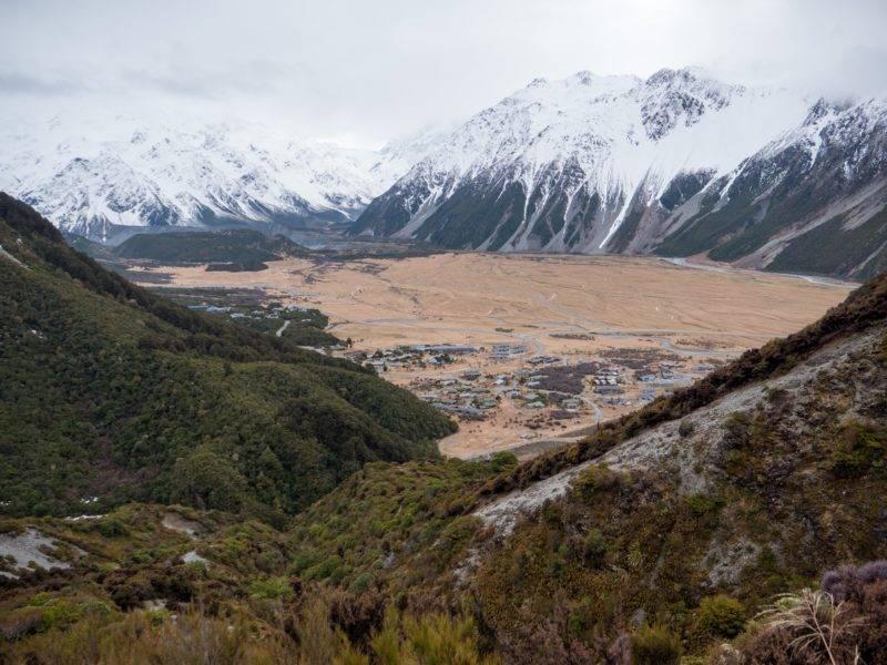 Der Blick auf Mount Cook Village