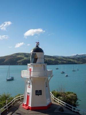 Akaroa Leuchtturm und Hafen
