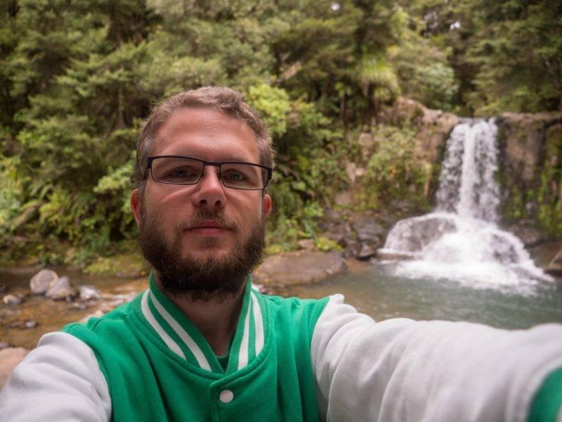 Selfie vor den Waiau Falls
