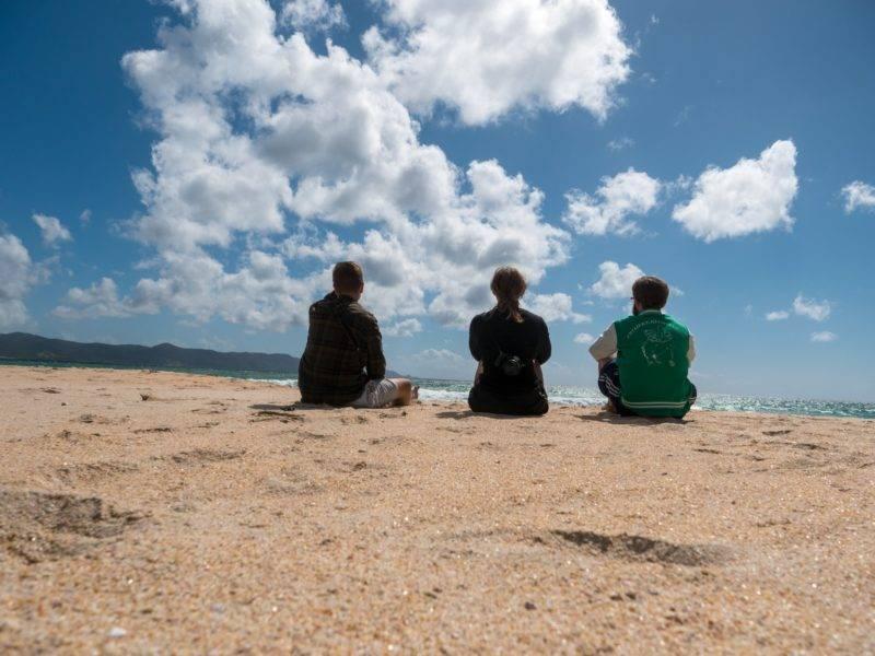 Philipp, Zoe & ich an der Spirits Bay