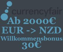 Günstig von Europa nach Neuseeland überweisen mit Currencyfair