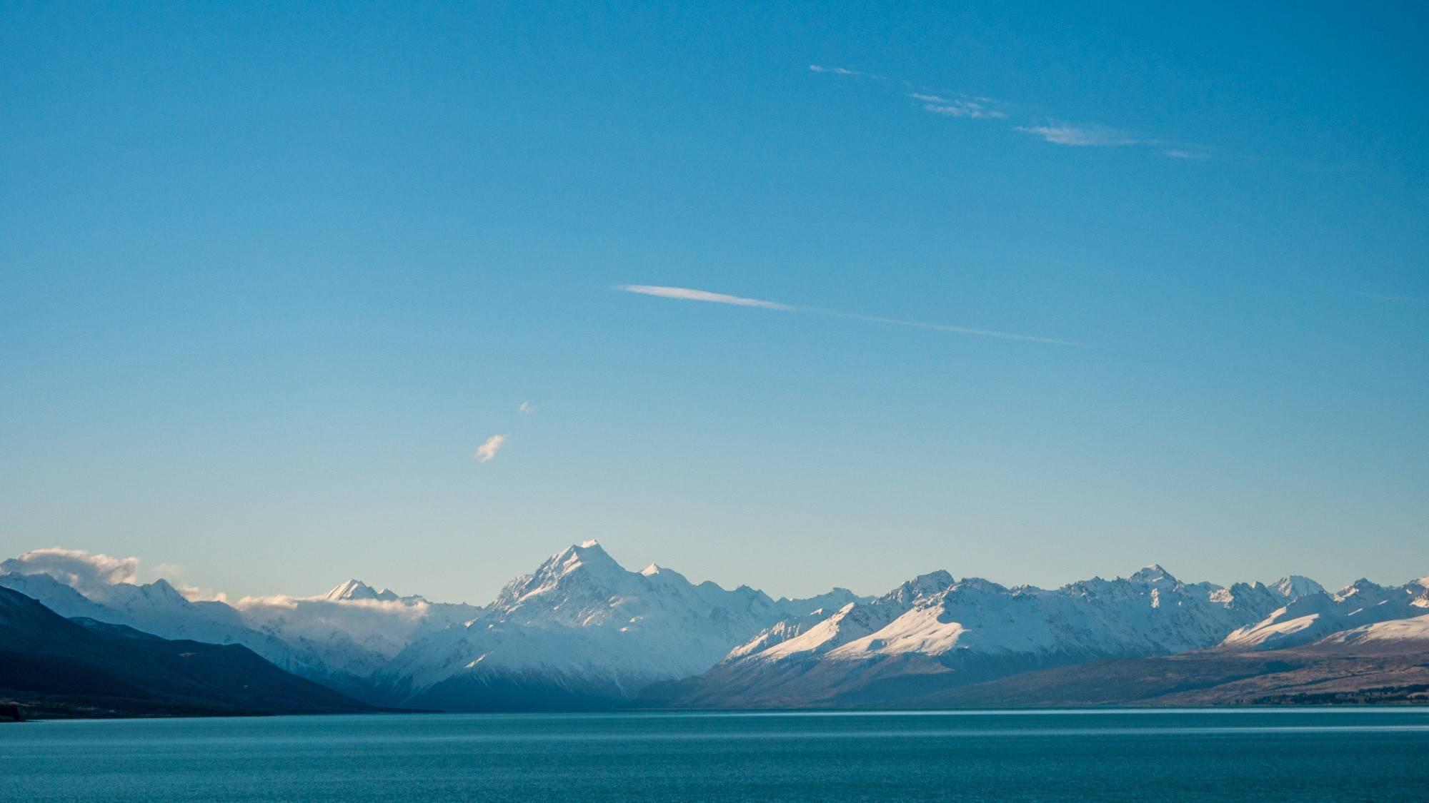 Mount Cook und Lake Pukaki in der Abendsonne