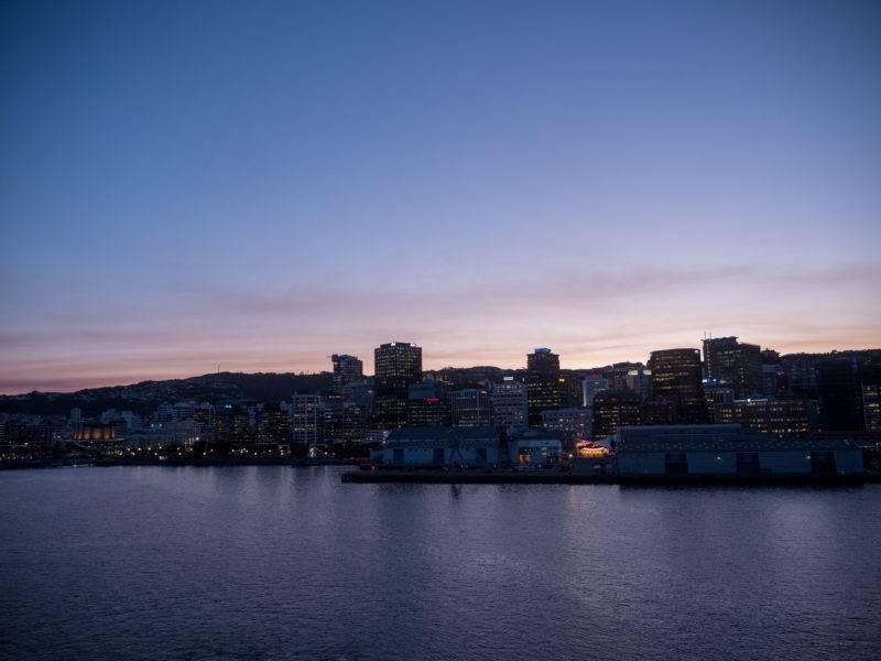 Wellington Stadt am Abend