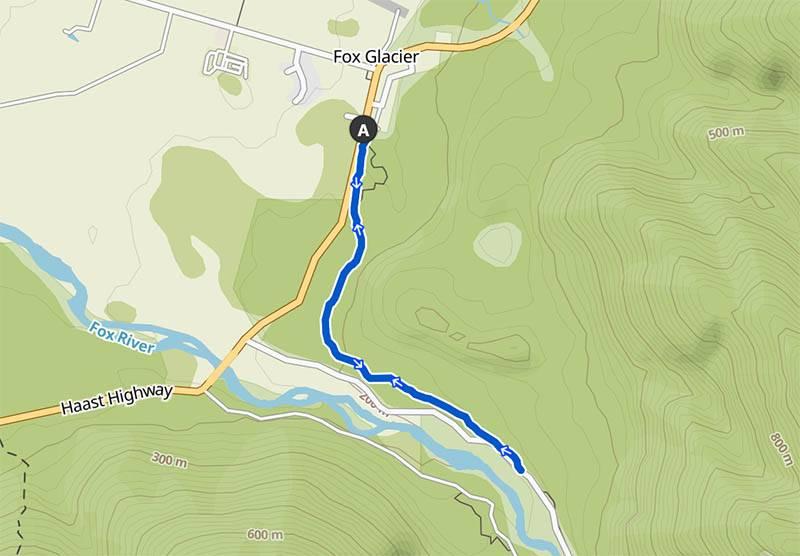 Übersichtskarte mit Fox Glacier und dem Te Wehaka Walkway Cycleway