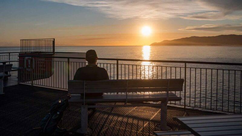 Sonnenuntergang auf der Cookstrait Fähre von Wellington nach Picton